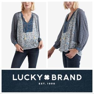NWT Lucky🍀Brand Multimedia Peasant Top in Blues